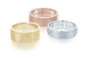 Fingerprint Rings by Legacy Touch Keepsakes in sterling silver, 14k gold, stainless steel and titanium